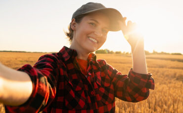 Woman farmer makes selfie